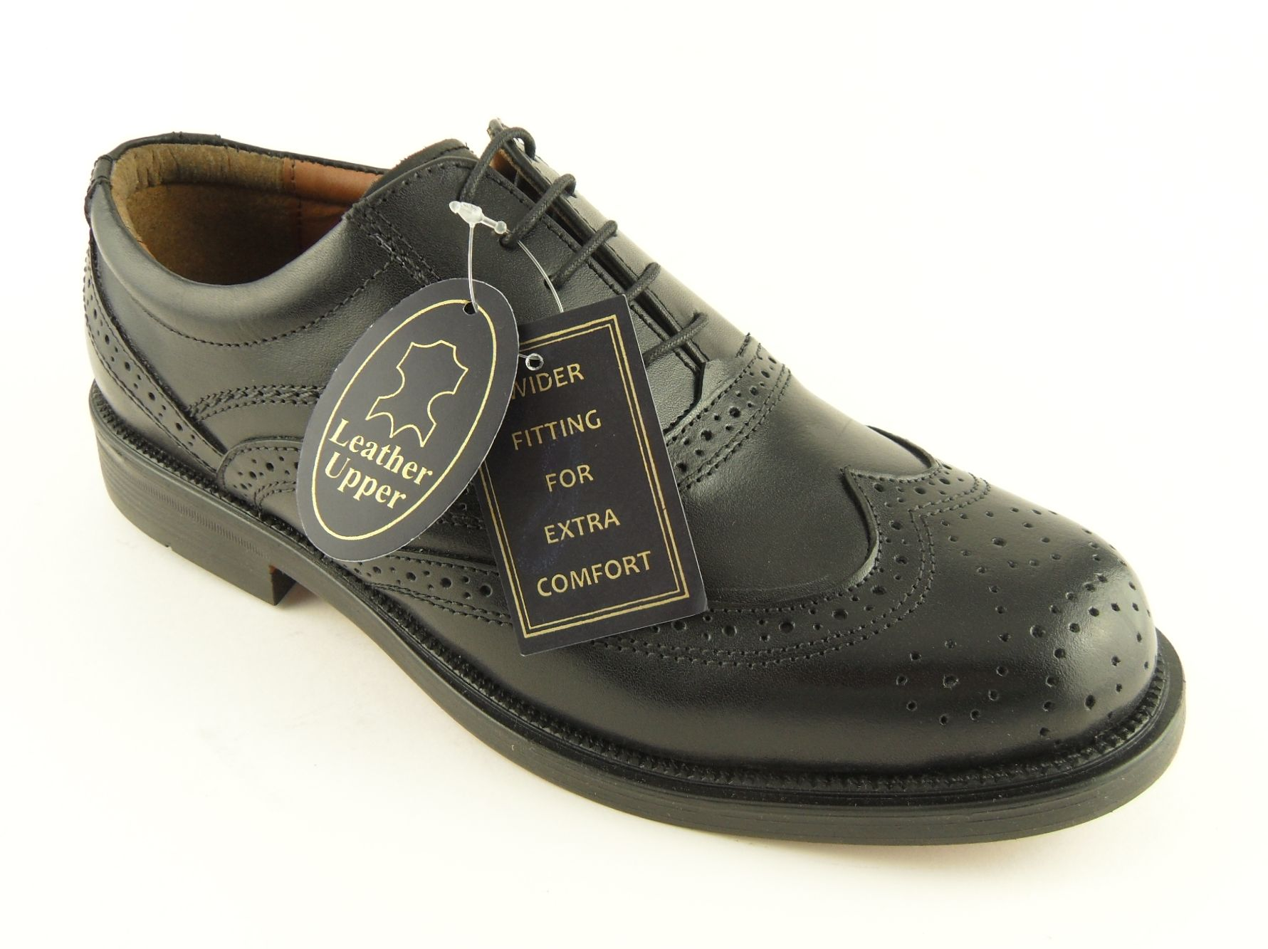 mens scimitar black leather brogues shoes wide fit 6 13 ebay