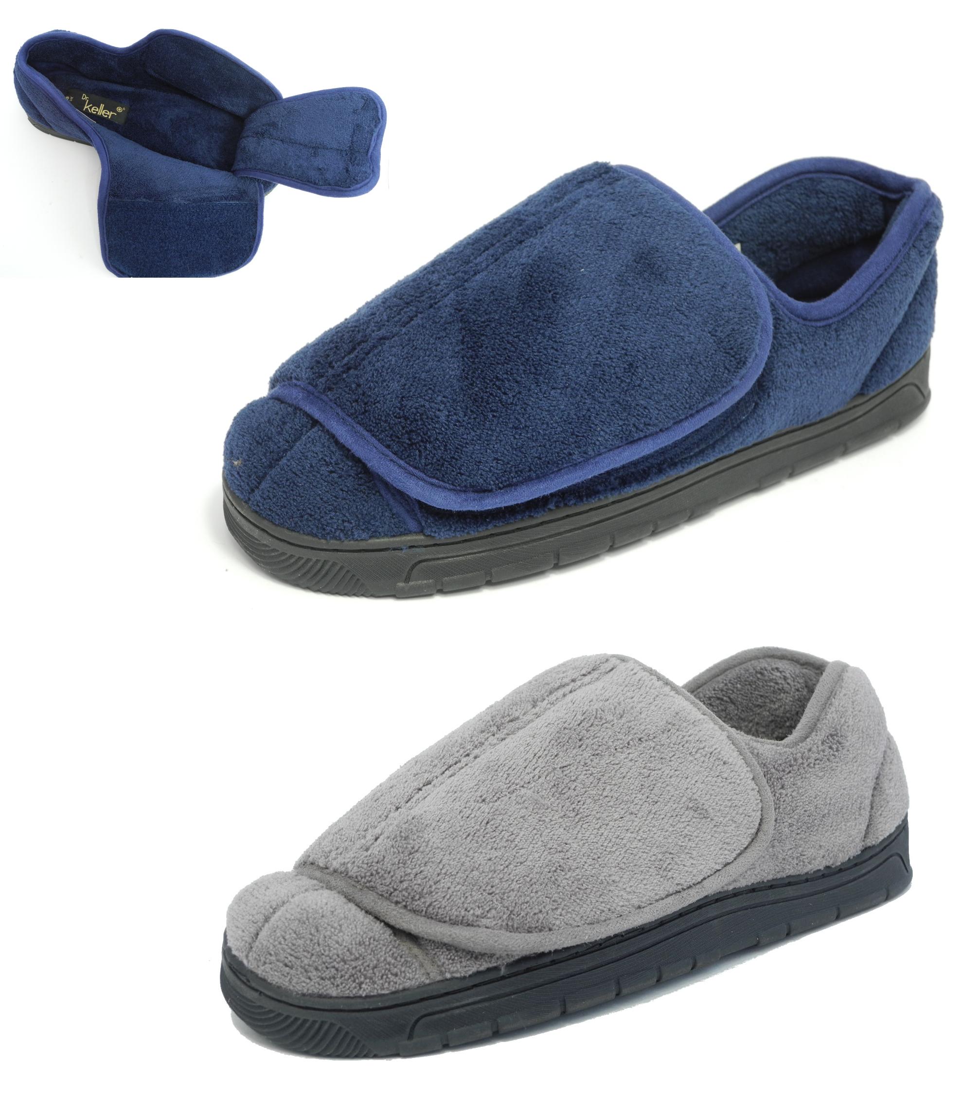 mens dr keller very wide fit velcro open out slippers blue. Black Bedroom Furniture Sets. Home Design Ideas