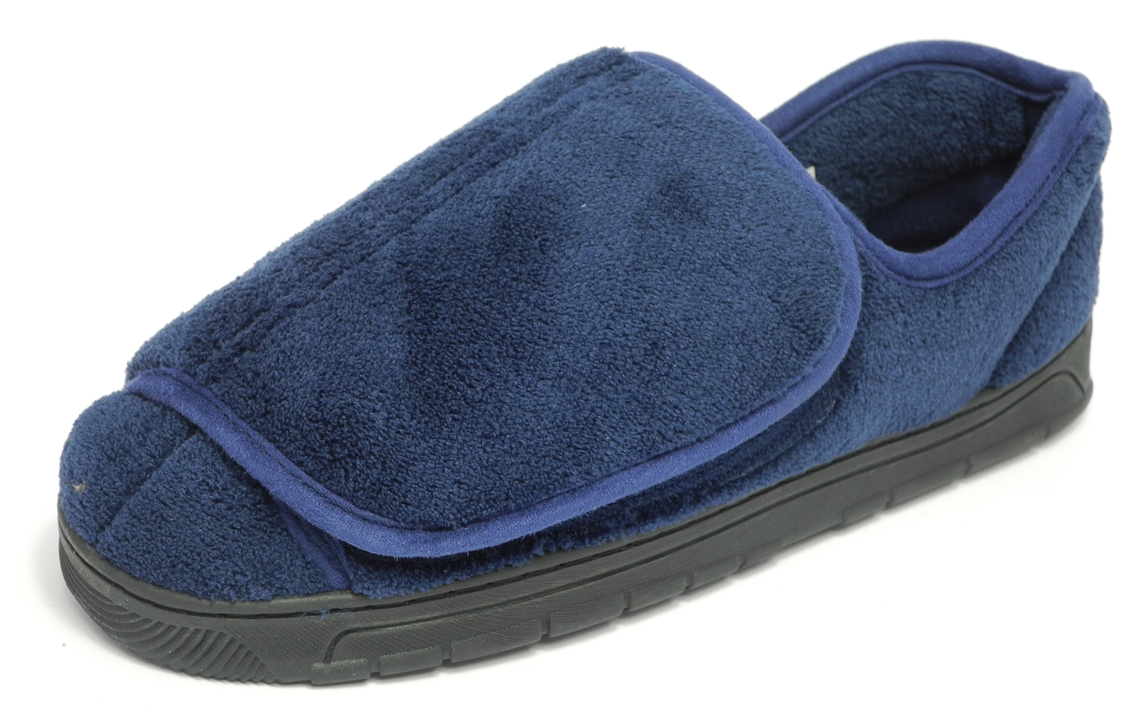 Mens DR KELLER Very Wide Fit Velcro Open Out Slippers Blue Size 6 7 8 9 10 11