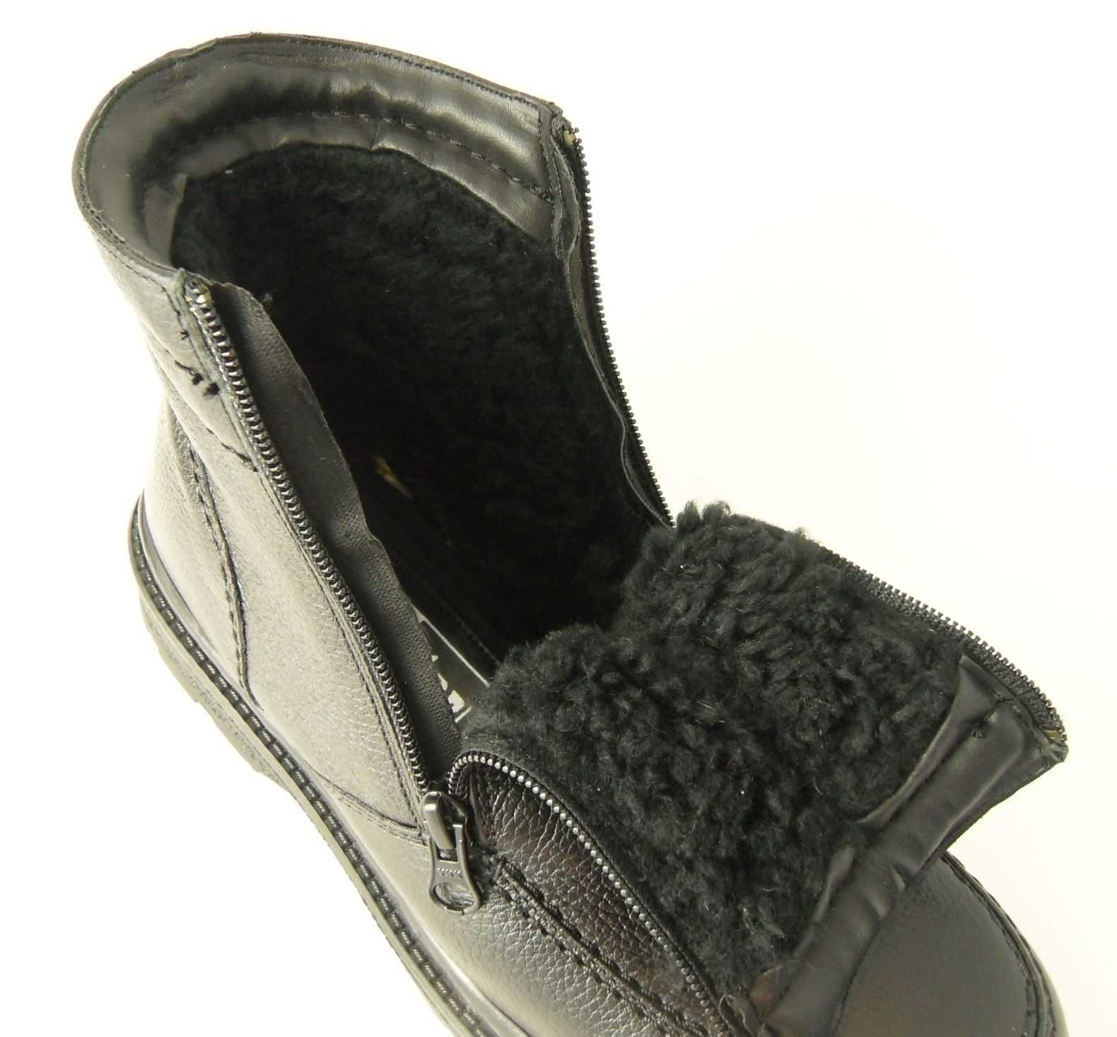 Mens Roamers Leather Warm Fleece Fur Lined Double Twin Zip Boots ...