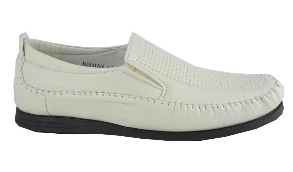 mens ivory beige leather look slip on loafers