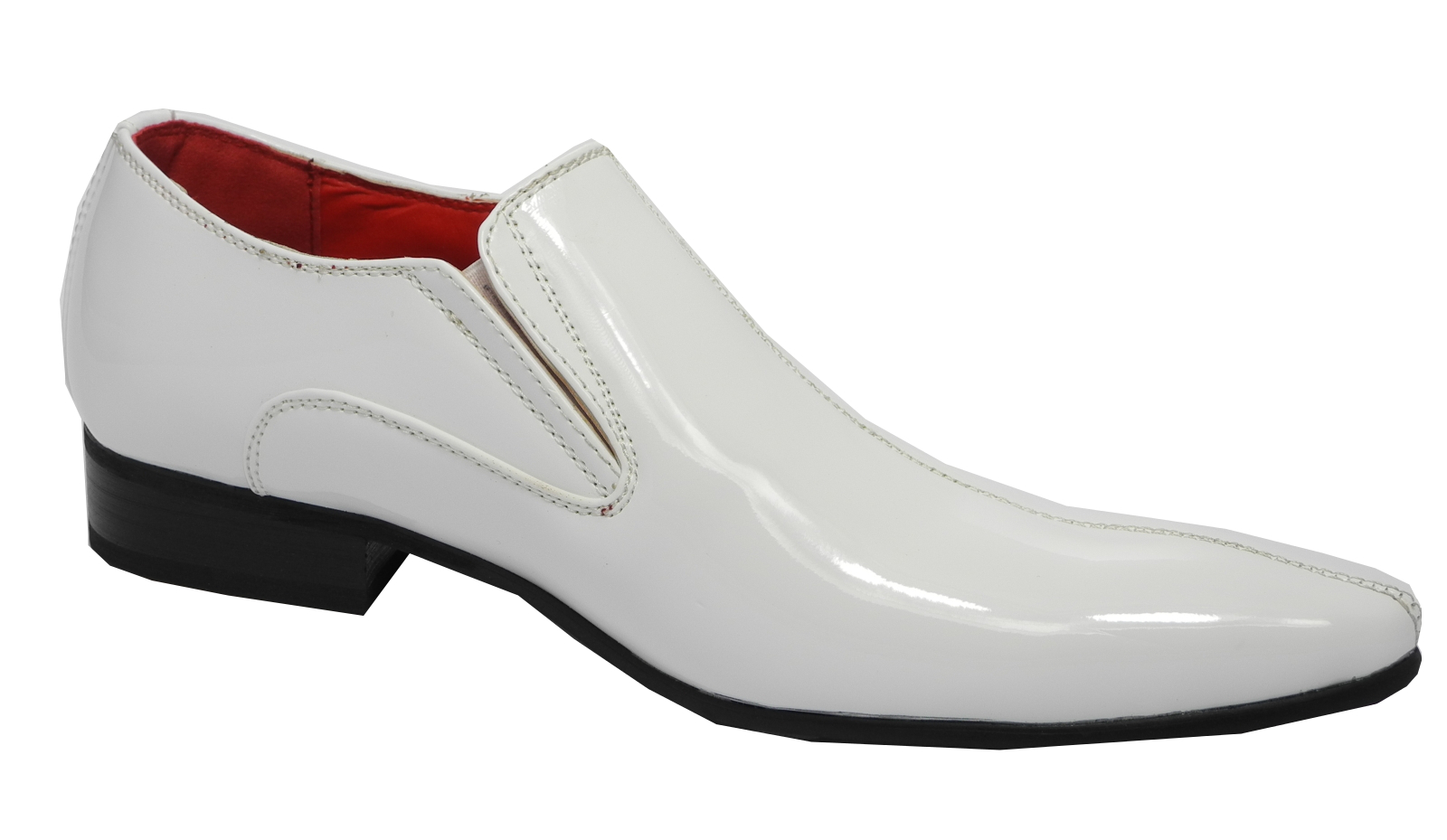 Mens Patent Leather Lined Pointed Toe Slip On Dress Shoes WHITE 7 ...