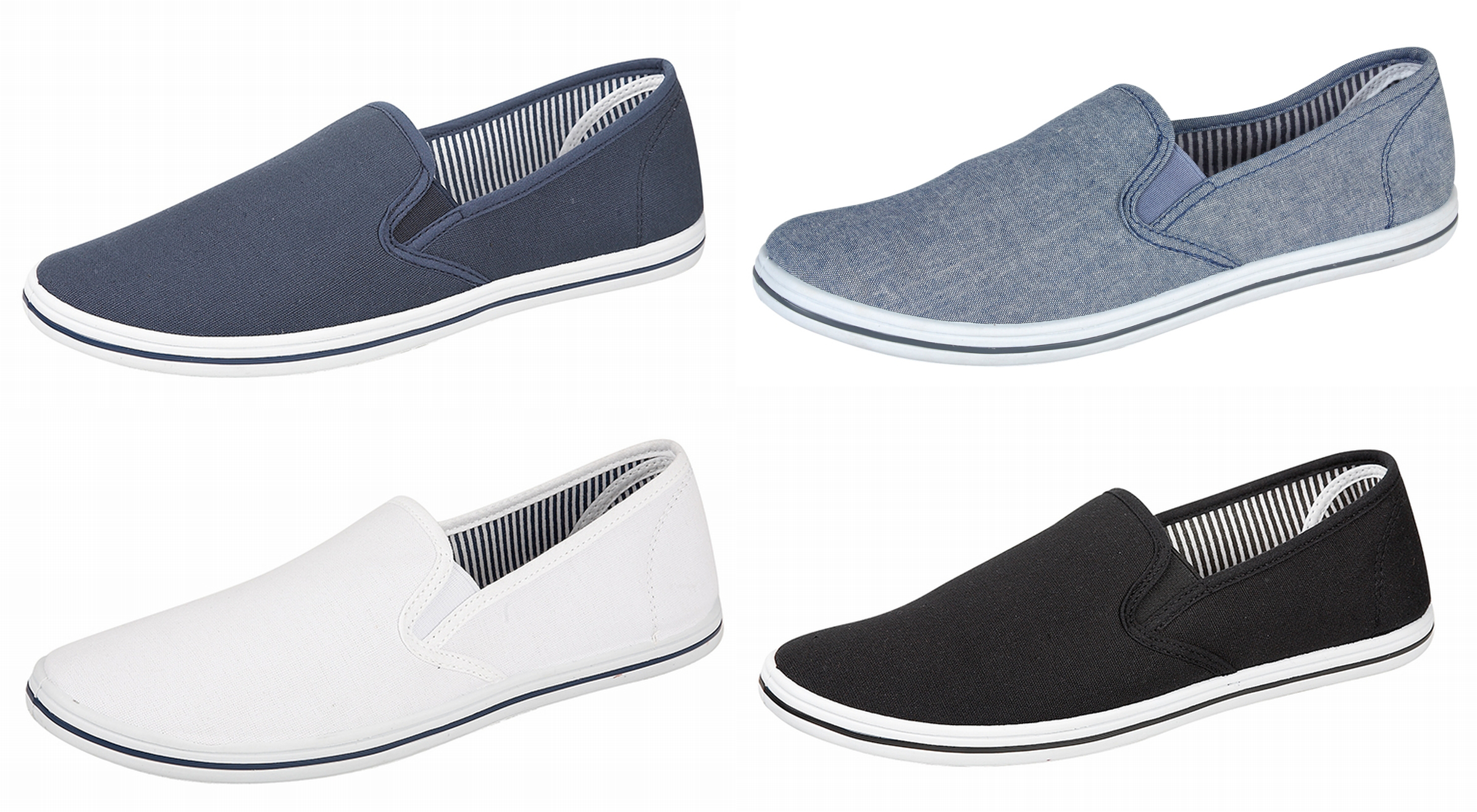 Mens Canvas Slip On Pumps Plimsolls Deck Shoes BLACK NAVY WHITE BLUE Size 7-12 Enlarged Preview
