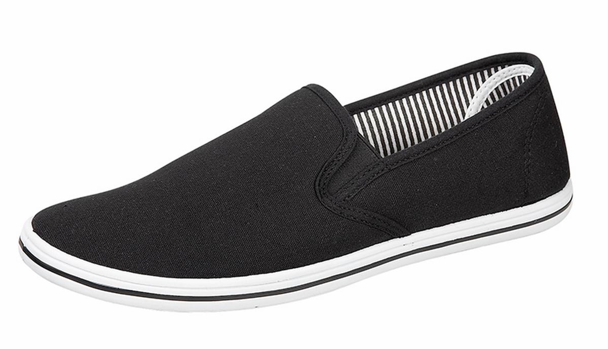 mens canvas slip on pumps plimsolls deck shoes black navy