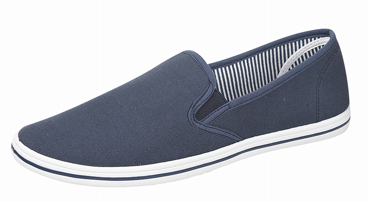 Mens-Canvas-Slip-On-Pumps-Plimsolls-Deck-Shoes-BLACK-NAVY-WHITE-BLUE-Size-7-12