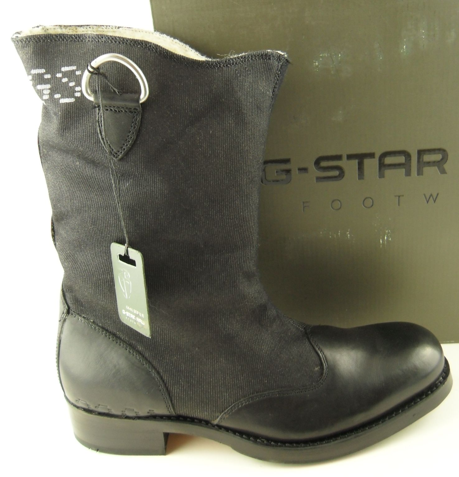 Mens G STAR RAW ASPER HI Black Denim Fur Lined Leather Calf Boots ...