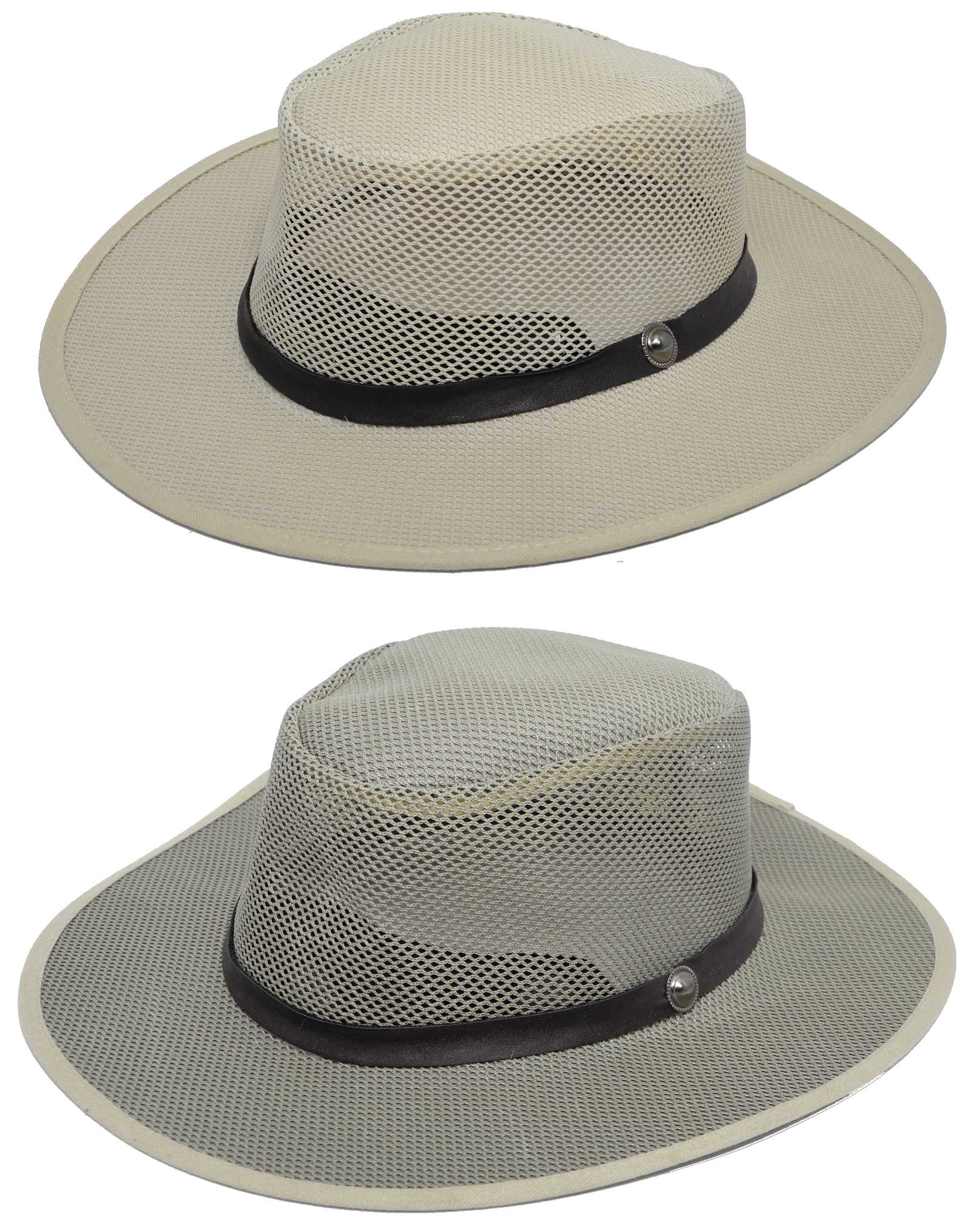 Mens Lightweight Mesh Aussie Bush Fedora Sun Hat Soakable Adjustable Size M L Enlarged Preview