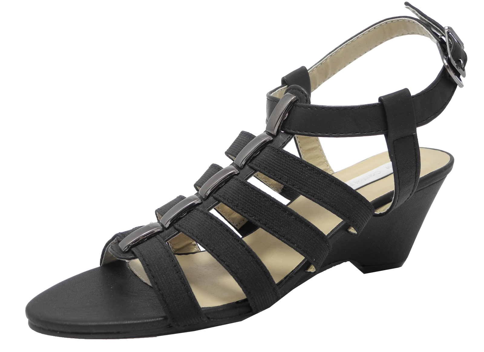womens wide fit sandals elasticated wedge heel shoes black