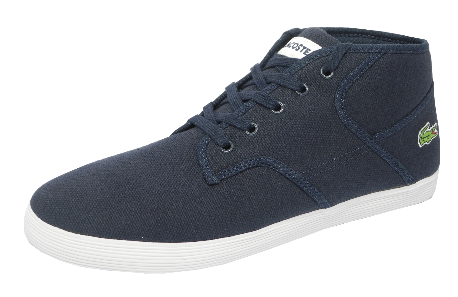 Mens Lacoste Andover Mid Canvas Trainers Boots Shoes Navy ...