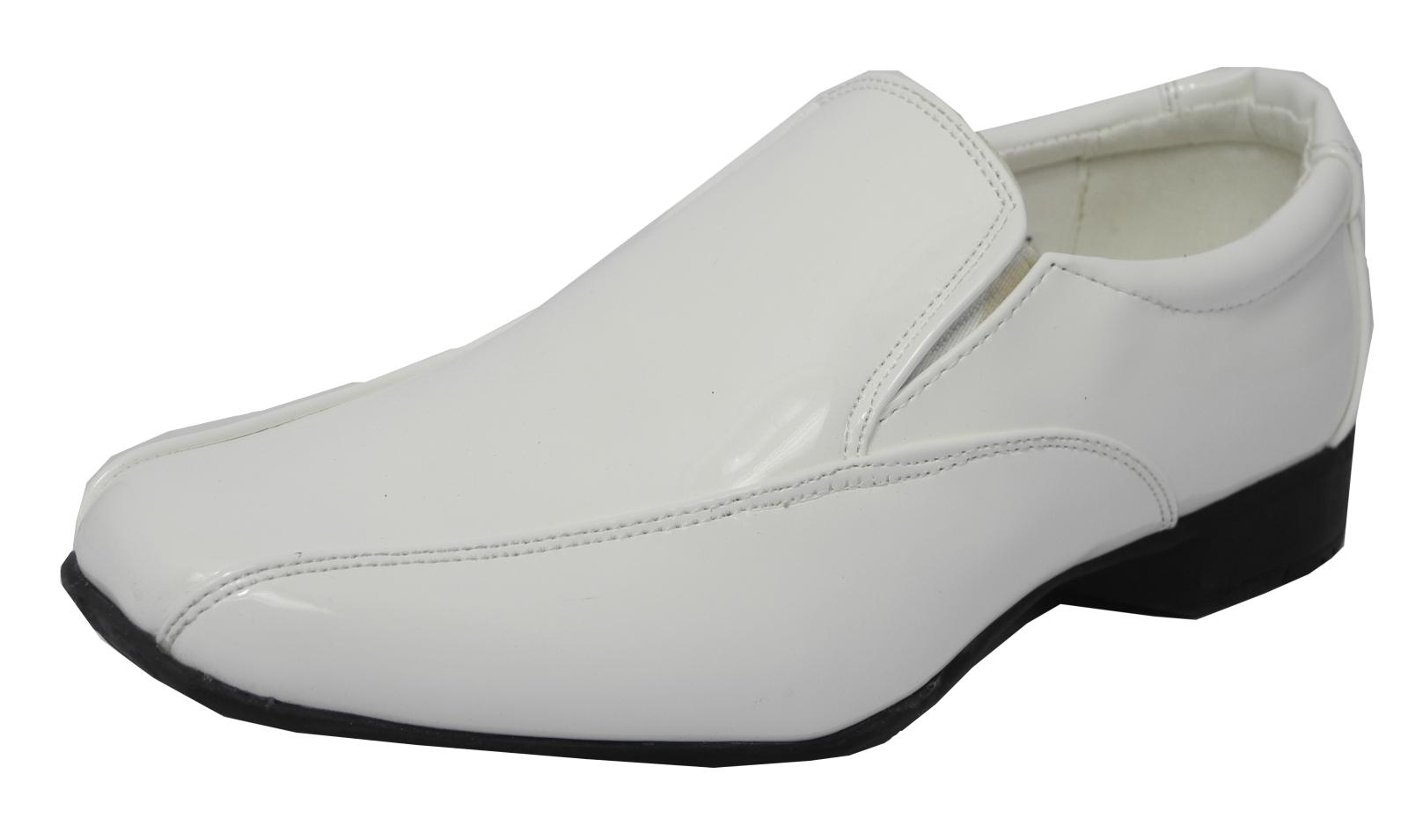 Mens Boys Size 6 5 Shiny White Dress Shoes Formal Wedding