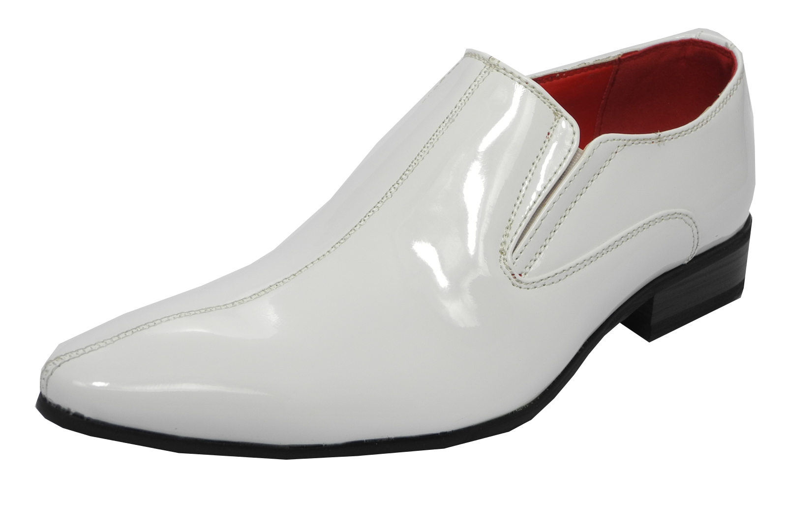 mens patent leather lined pointed toe slip on dress shoes
