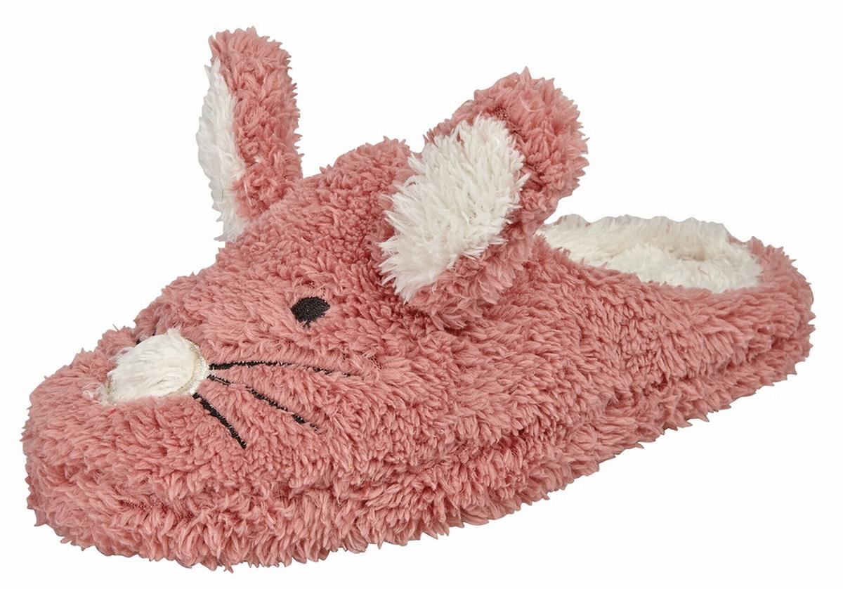 Damen Weiche kuschelige Hasen-Hausschuhe in PINK und GRAU Größe S M L