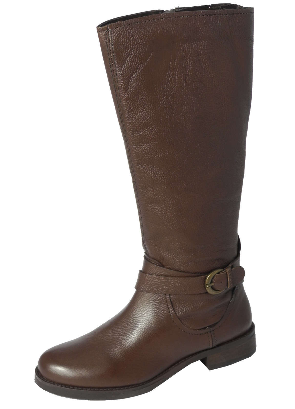 Simple WOMENS BROWN FAUX LEATHER LADIES WINTER KNEE HIGH RIDING BOOTS SHOES