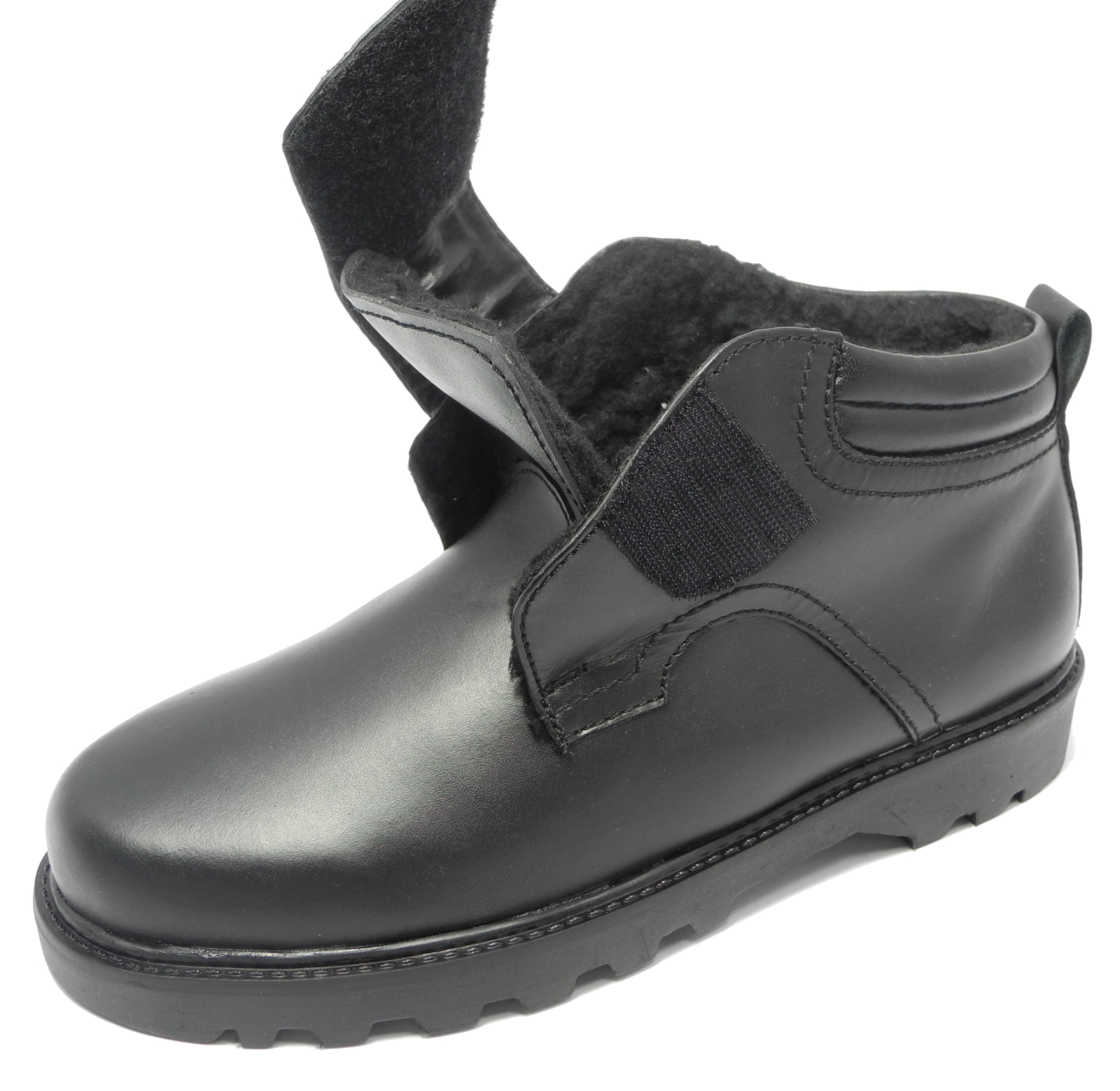 Mens Dr Keller Leather Warm Fleece Fur Lined Wide Fit Velcro Boots ...