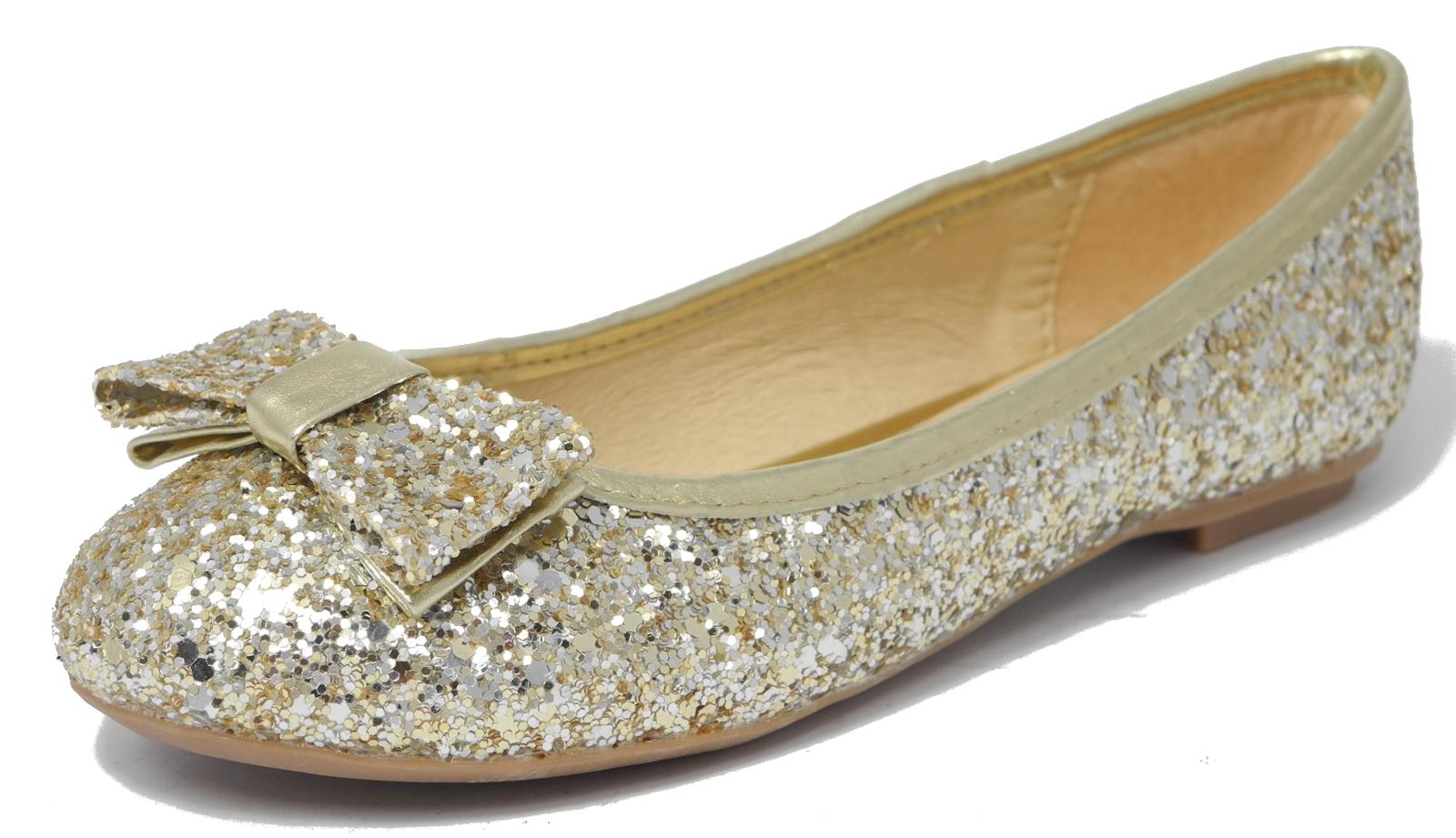 older girls teens gold sparkly glitter ballerina pumps party flats shoes sz 10 5 ebay. Black Bedroom Furniture Sets. Home Design Ideas