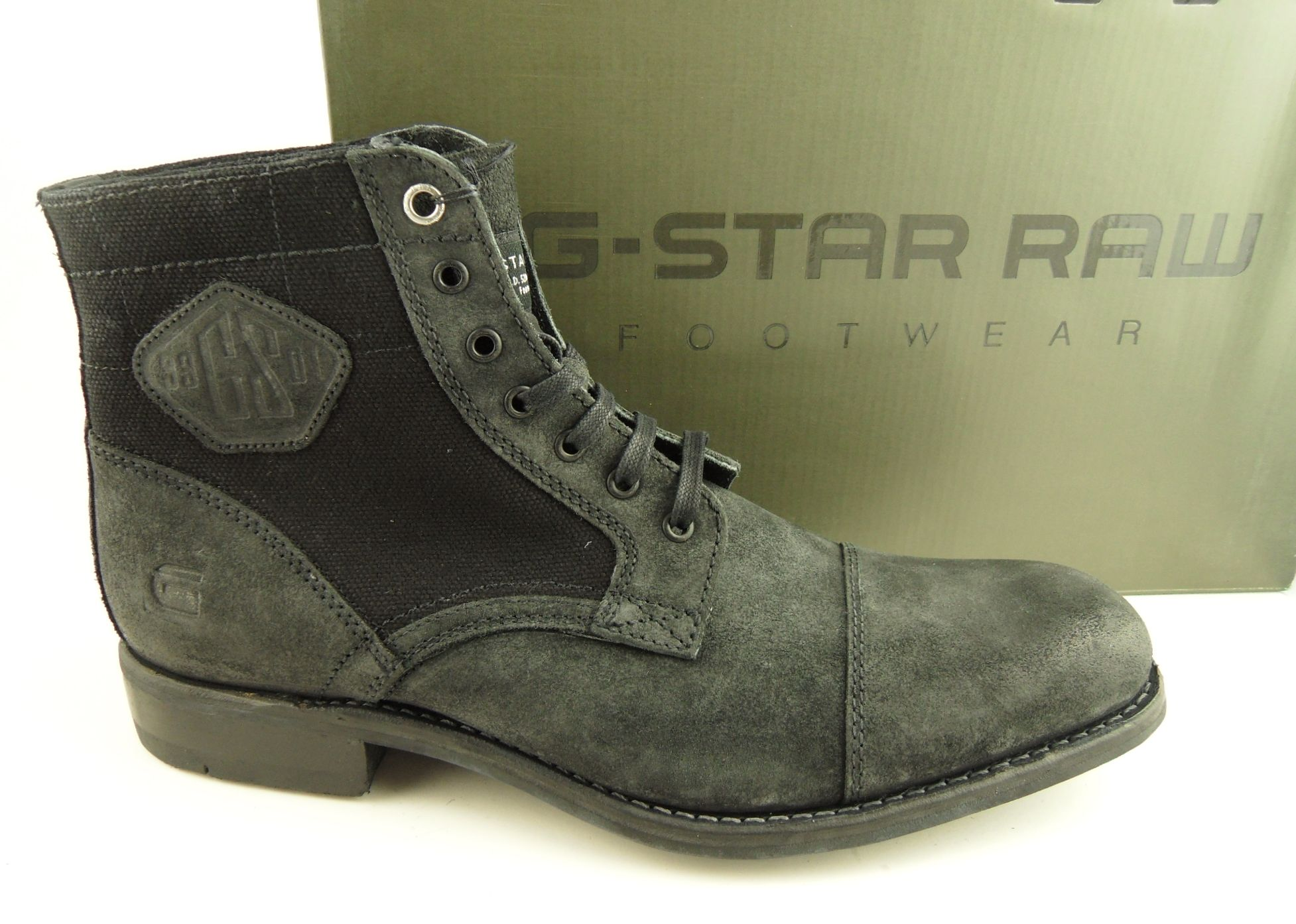 mens g star raw charger iii black leather canvas military boots size 8 ebay. Black Bedroom Furniture Sets. Home Design Ideas