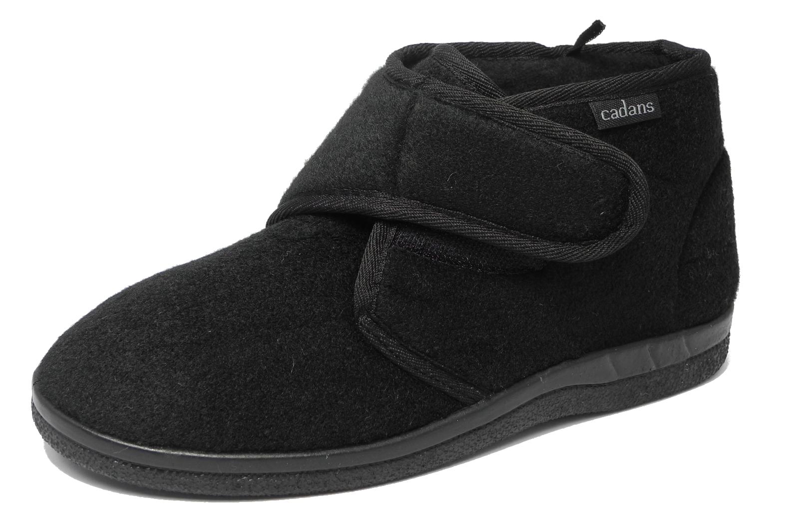 mens sturdy thick felt fleece lined velcro boots bootie. Black Bedroom Furniture Sets. Home Design Ideas