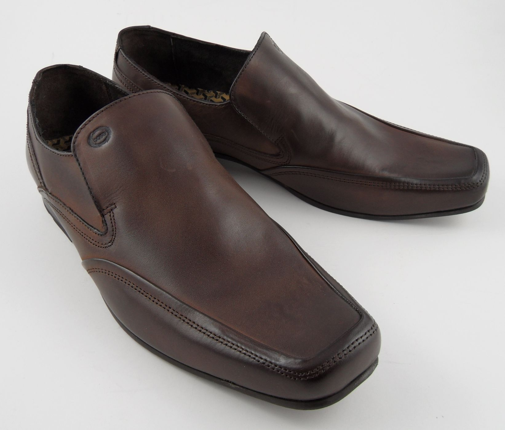 mens base slip on leather shoes brown 6 12 ebay