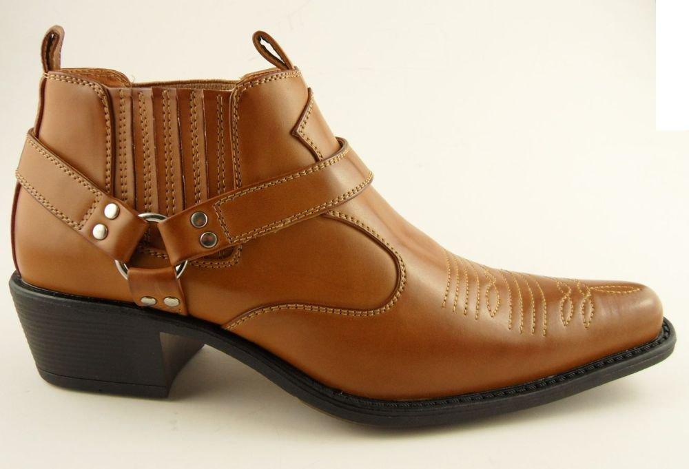 mens us brass brown cowboy western ankle stirrup pull