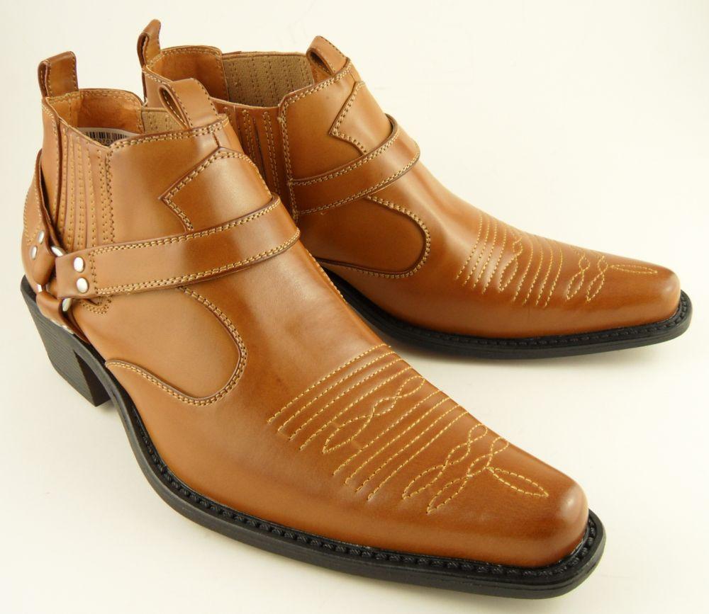 Mens Us Brass Tan Brown Cowboy Western Ankle Stirrup Pull