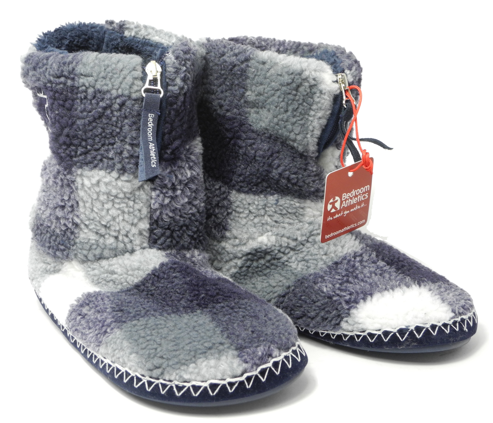 mens bedroom athletics sherpa fleece warm fur zipped boots bootie slippers 7 12 ebay