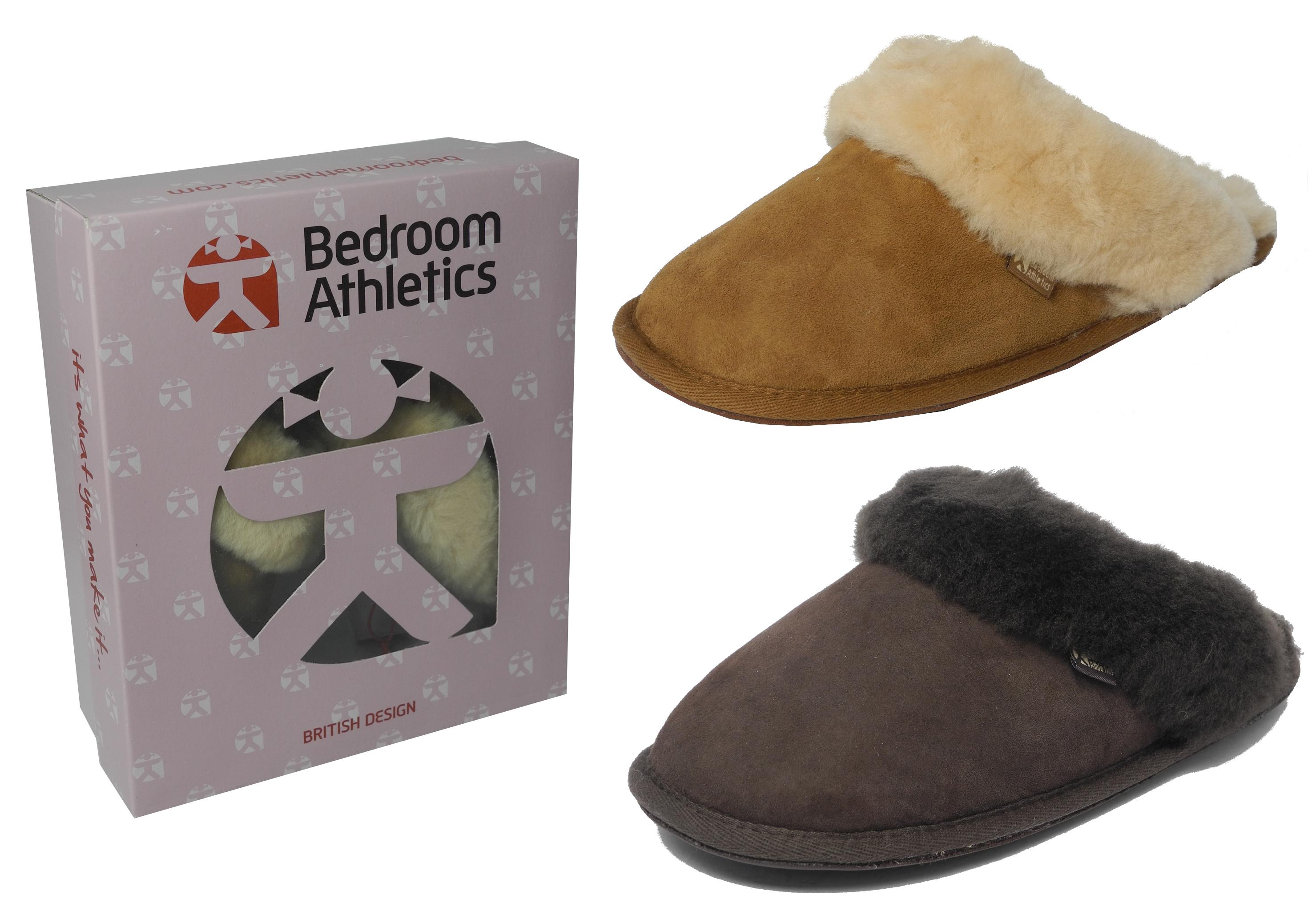 Womens Ladies Bedroom Athletics Sheepskin Suede Mules