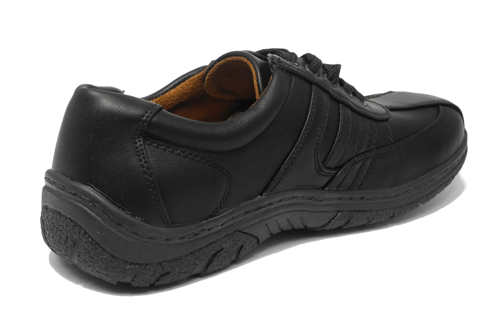 mens black leather look wide cushion comfort arch support