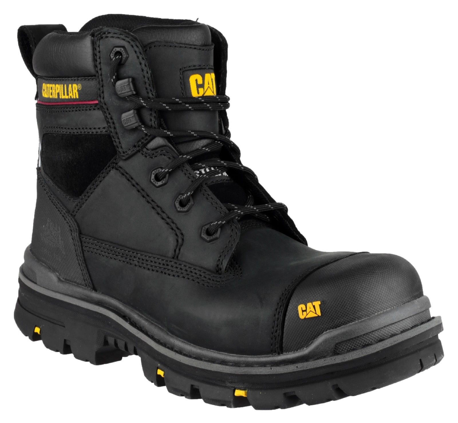 Mens CAT Caterpillar Gravel Steel Toe Cap Safety Work Boots Black ...