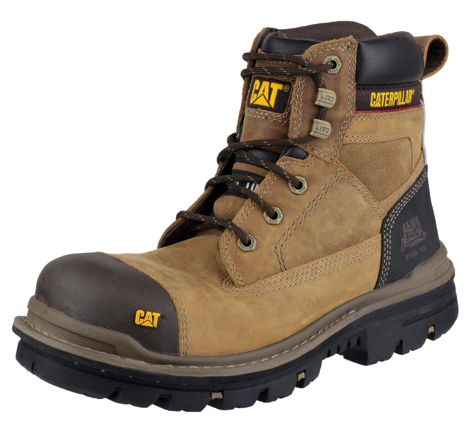 Mens CAT Caterpillar Gravel Steel Toe Cap Safety Work Boots Black Beige 6-12 | EBay
