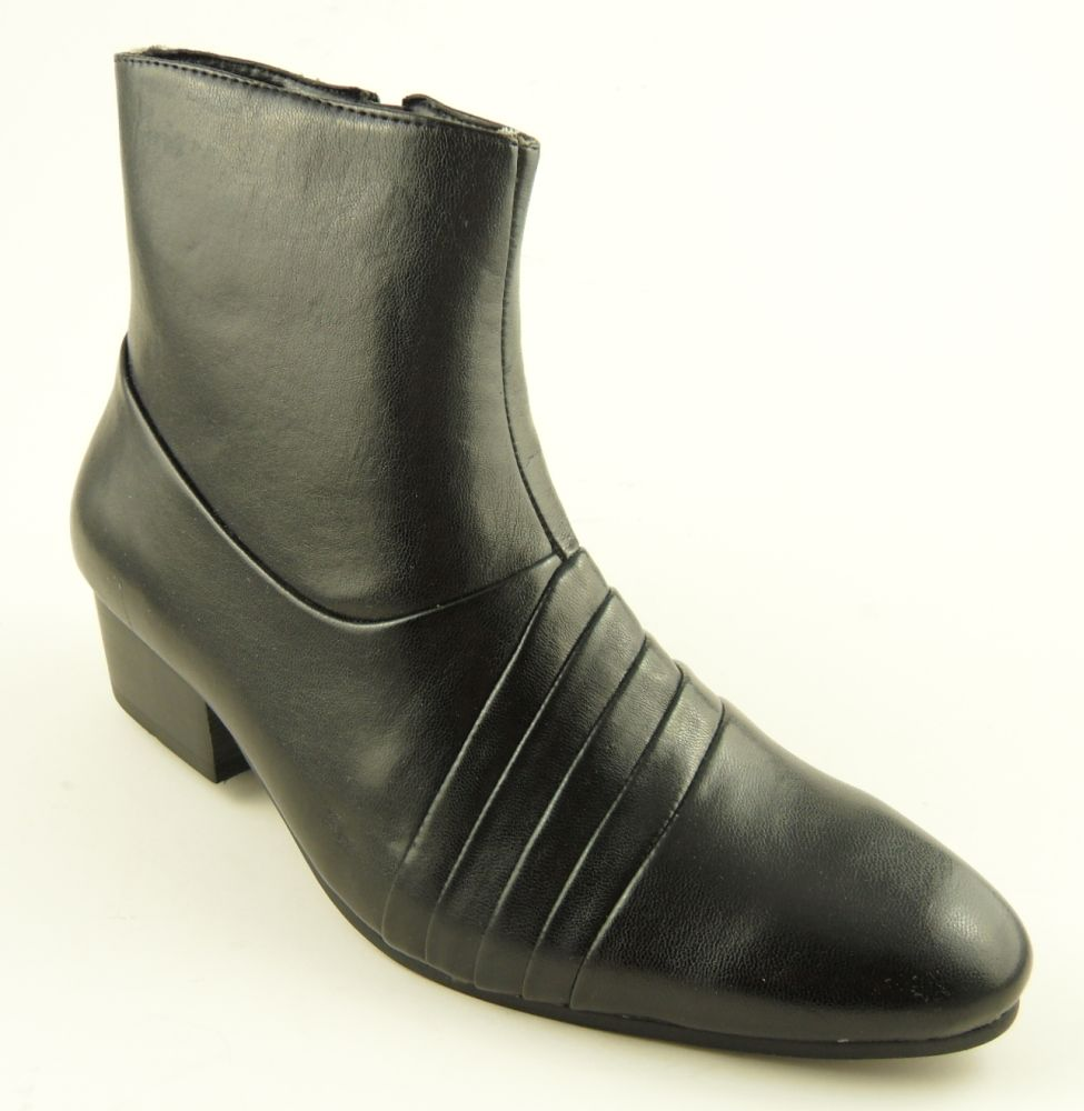 mens cuban heel black leather look boots 6 11 ebay