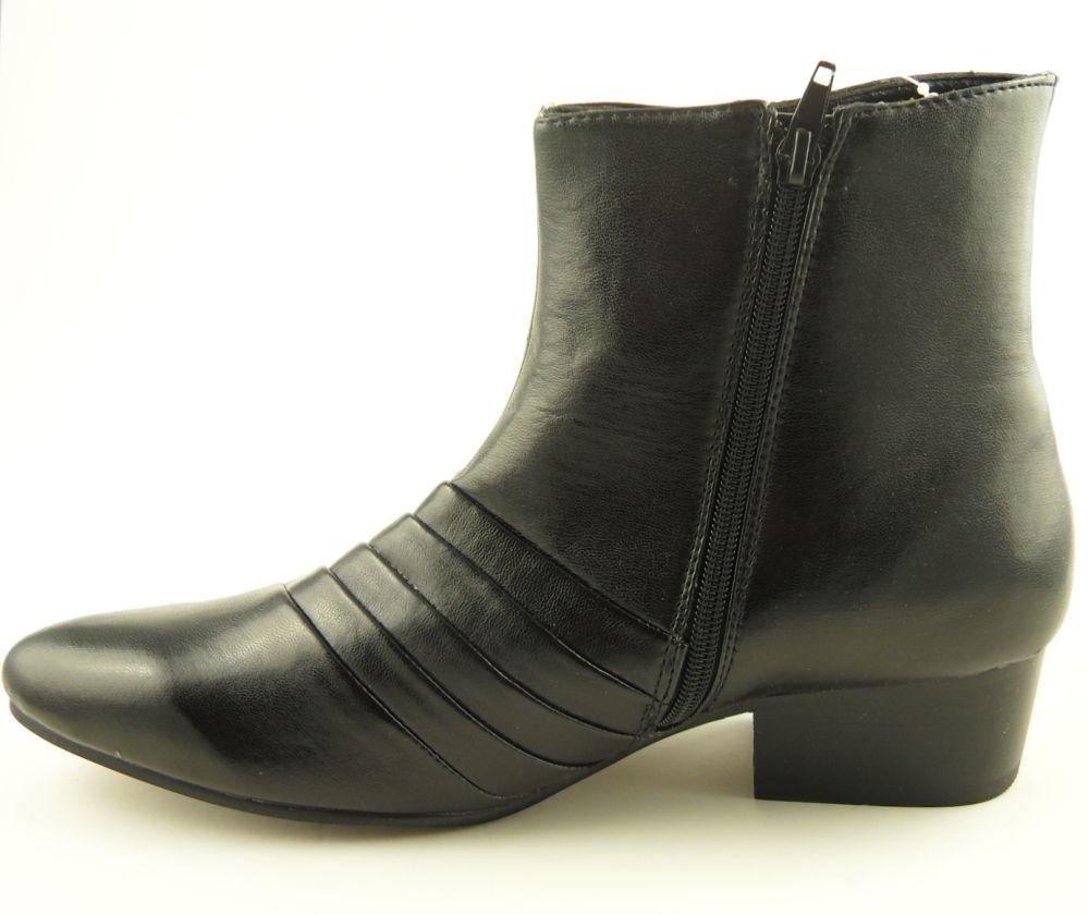 mens cuban heel black leather look boots 6 11 ebay