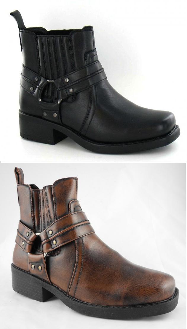 mens harley biker leather look cowboy ankle boots black