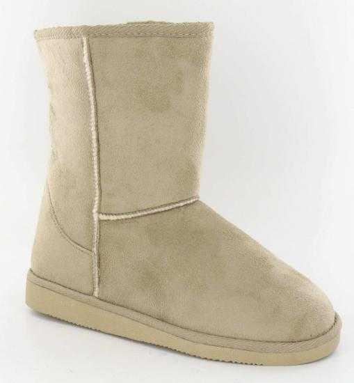 Mens Faux Sheepskin Micro Suede Boots Slippers Beige Sizes 7 12 EBay
