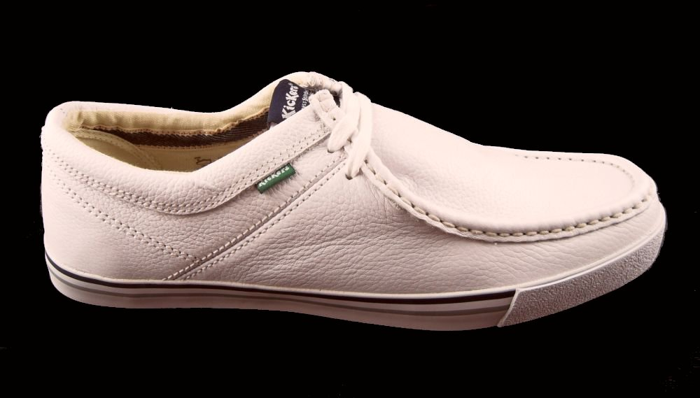 mens kickers sneakie white leather deck wallaby bowls