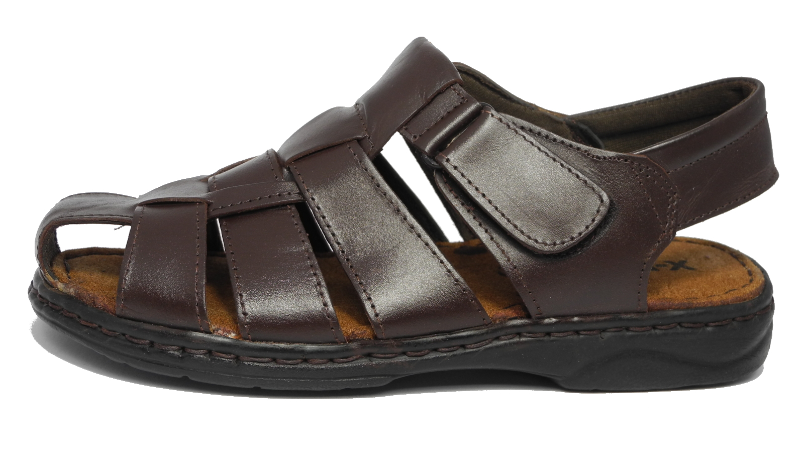 Black enclosed sandals - Mens Leather Closed Toe Velcro Sandals Summer Hiking