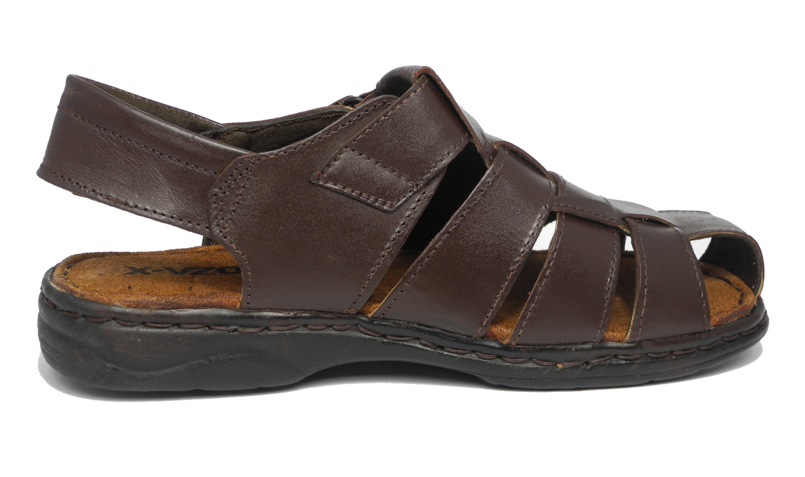 Black enclosed sandals - Mens Leather Closed Toe Velcro Sandals Summer Hiking Shoes Brown Black Size 6 11