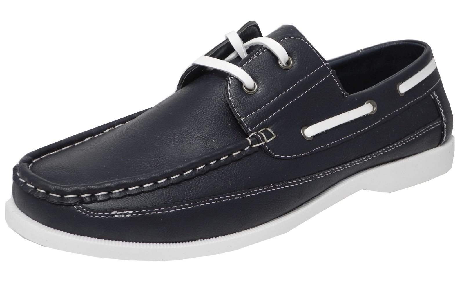 mens leather look navy blue white sole deck shoes