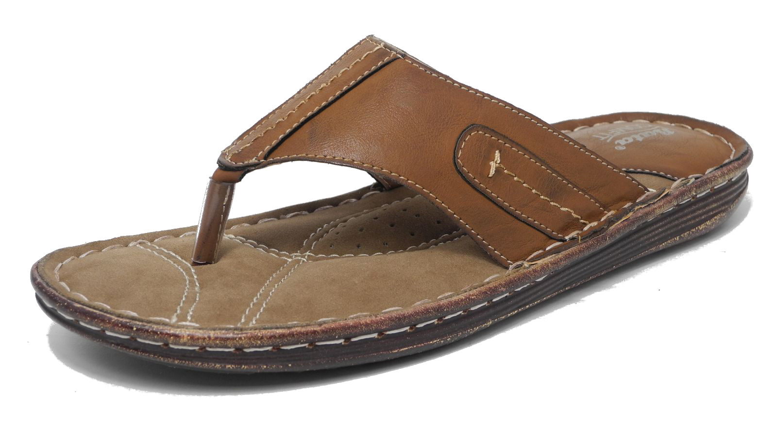 Mens Bata Leather Look Cushioned Comfort Toe Post Sandals