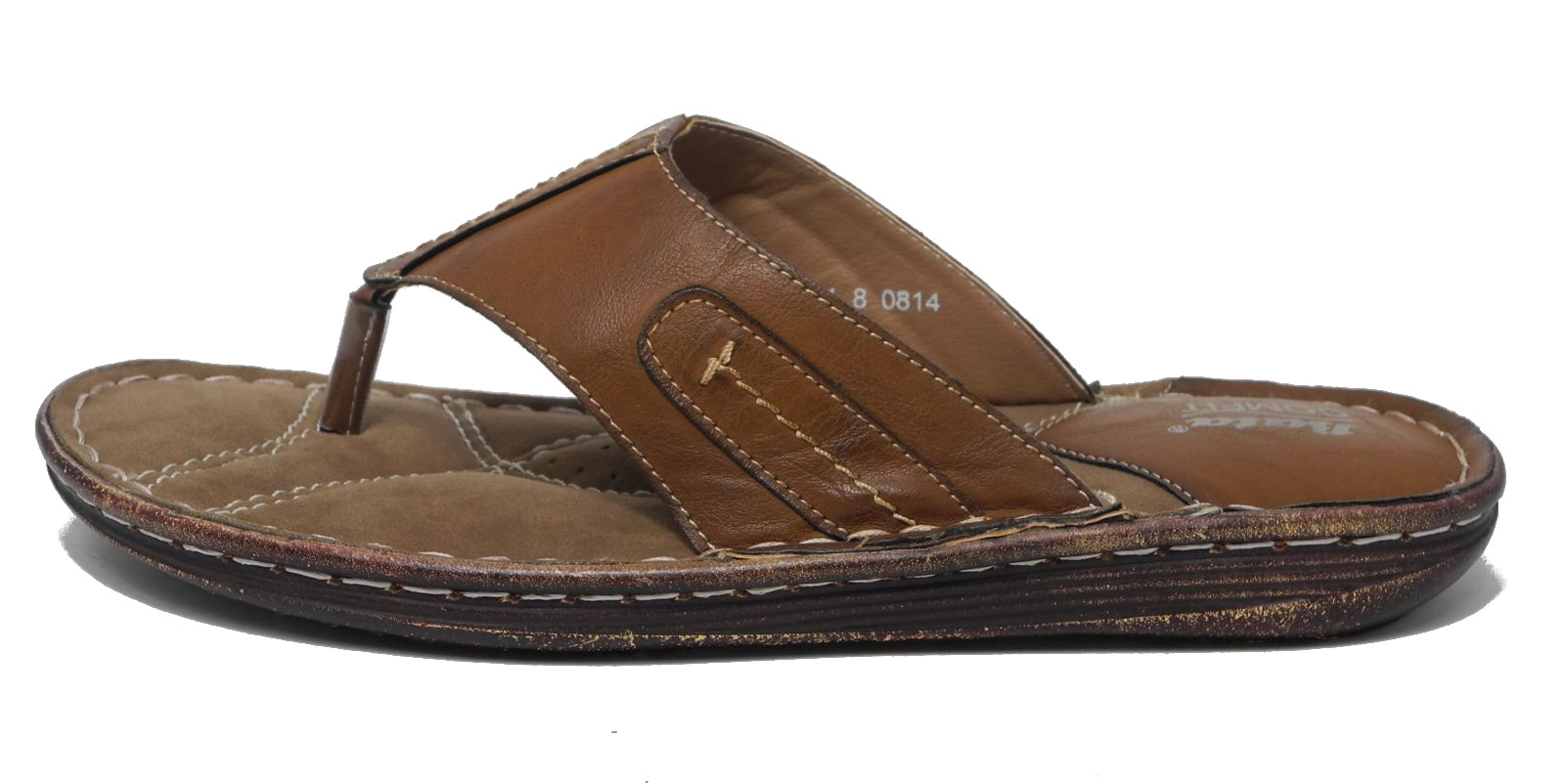 Mens Bata Leather Look Cushioned Comfort Toe Post Sandals