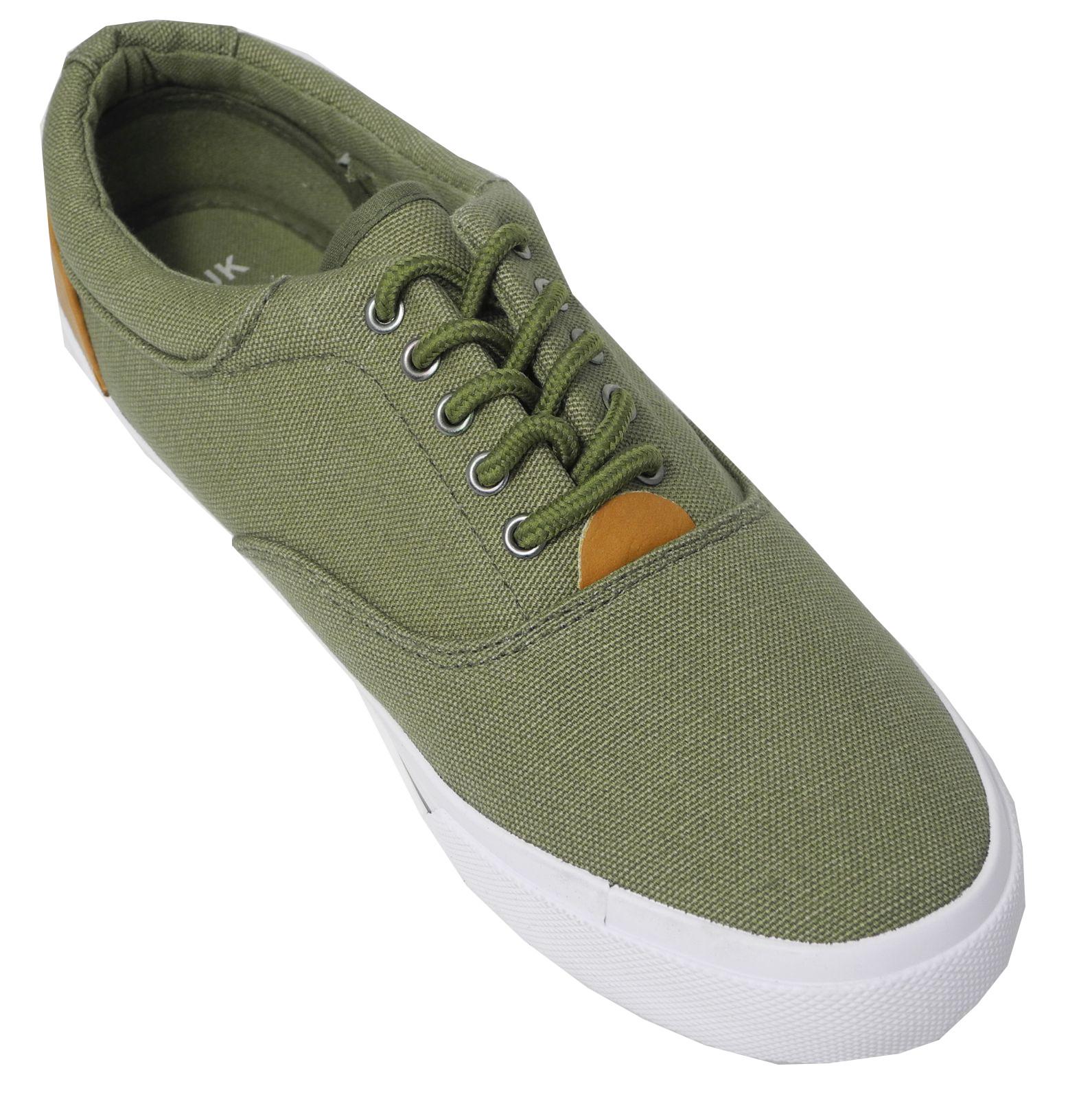 mens khaki canvas shoes lace up trainers casual shoes