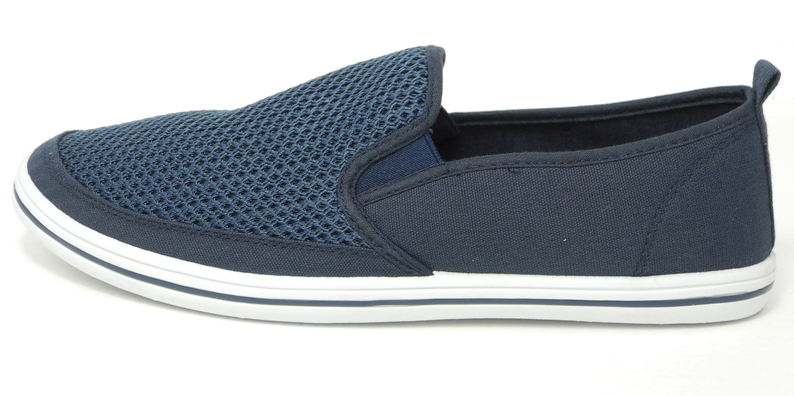 Mens-Mesh-Canvas-Yachting-Deck-Shoes-Slip-On-