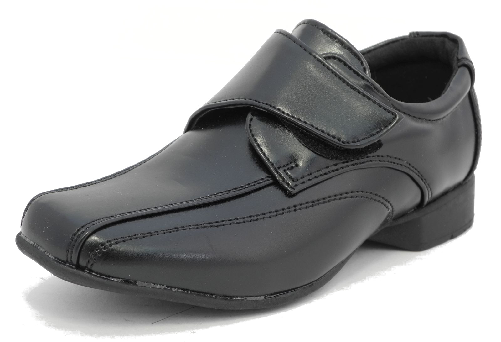 boys formal wedding school leather look shoes black velcro