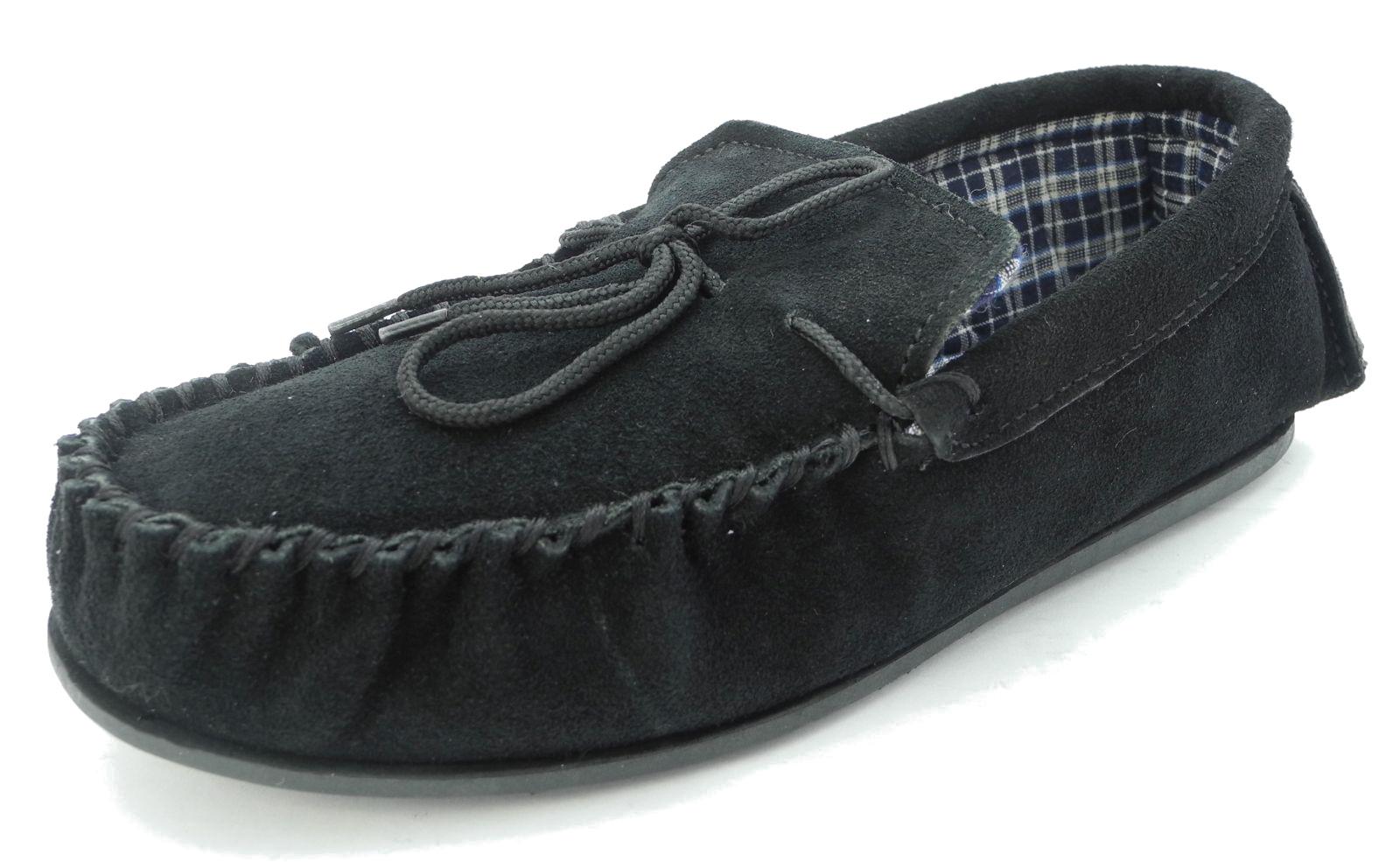 mens mokkers real suede leather moccasin slippers brown. Black Bedroom Furniture Sets. Home Design Ideas