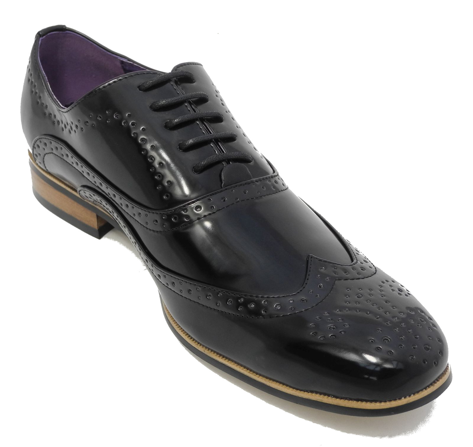 mens shiny patent shoes leather lined lace up smart