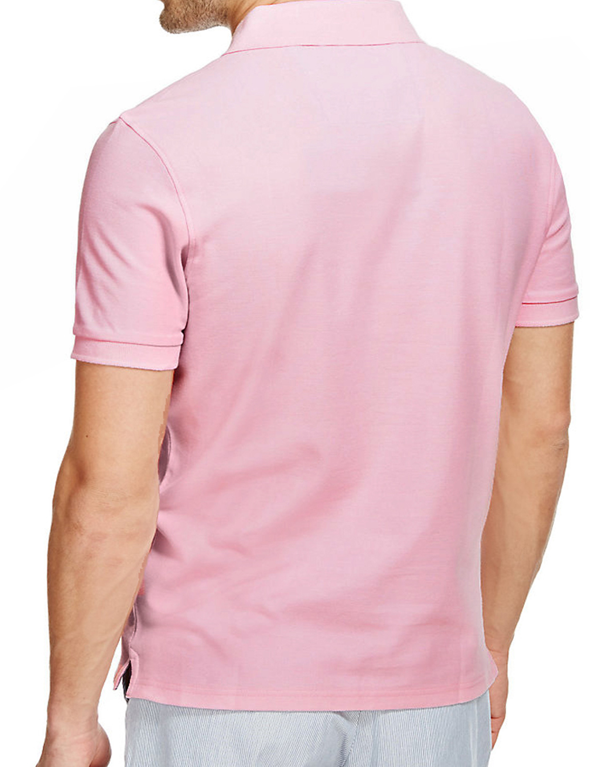 Mens m s marks and spencer short sleeve blue harbour polo for Mens pink shirts uk