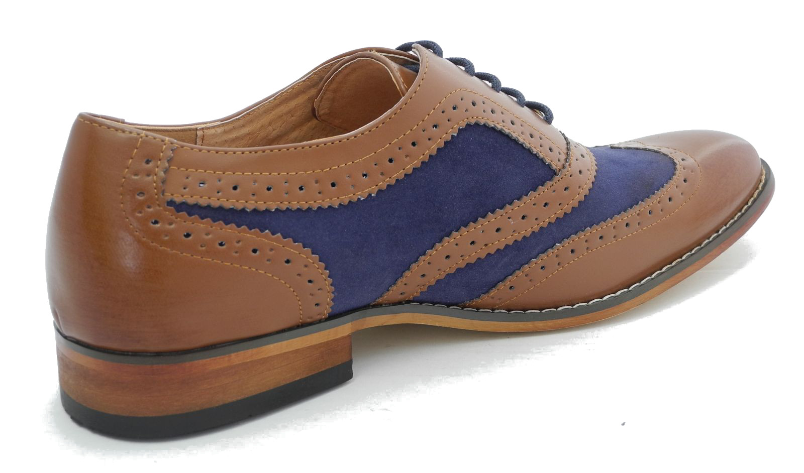 Blue And Tan Wingtip Shoes