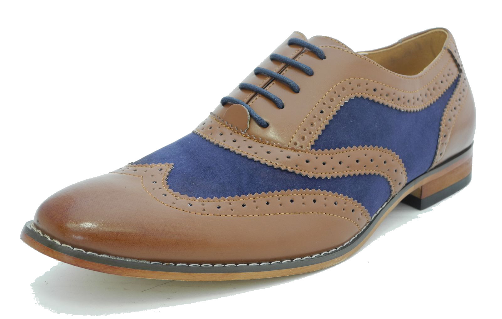 Half brogue cap toe Italian leather dress shoes in Dark Grey Antique and Blue Antique. The Half Brogue Kendrik cap toe dress shoes in Dark Grey and Dark Blue Antique is hand-crafted from supple Italian leather with a definite cap toe and beautiful detailing. All Ace Marks shoes have a durable blake flex construction with leather soles and waxed dress shoe laces.