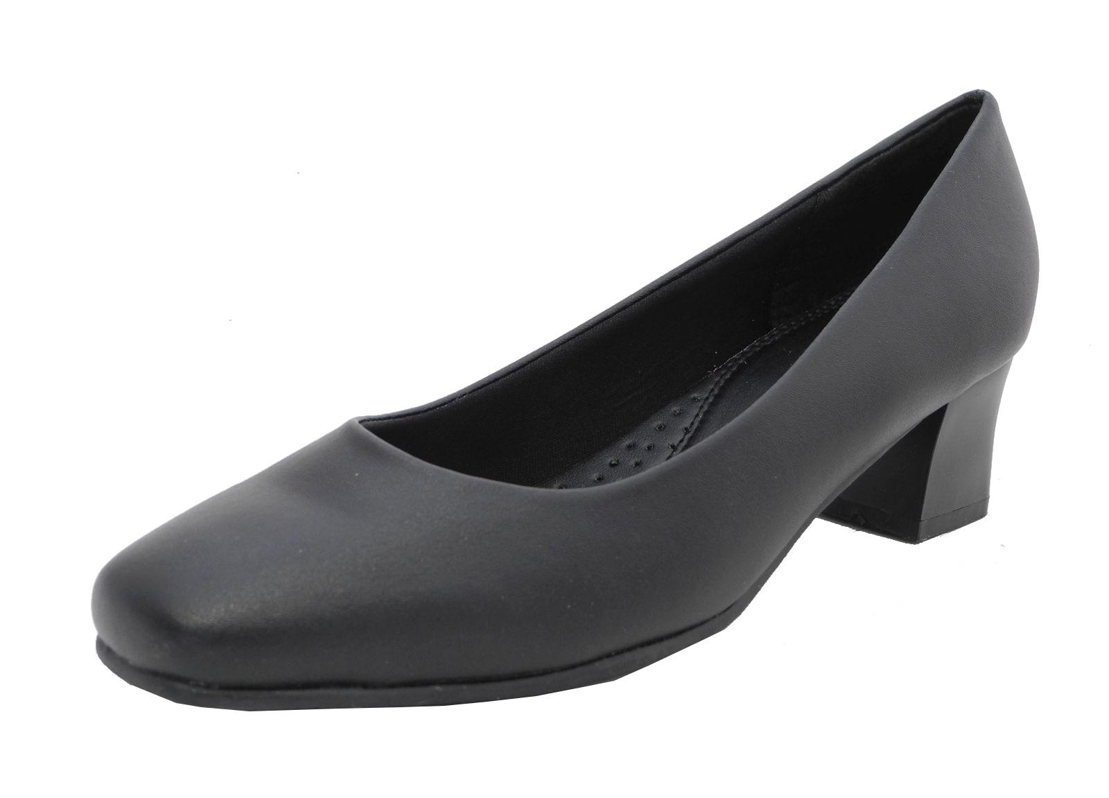 womens wide fit leather look comfort black low heel