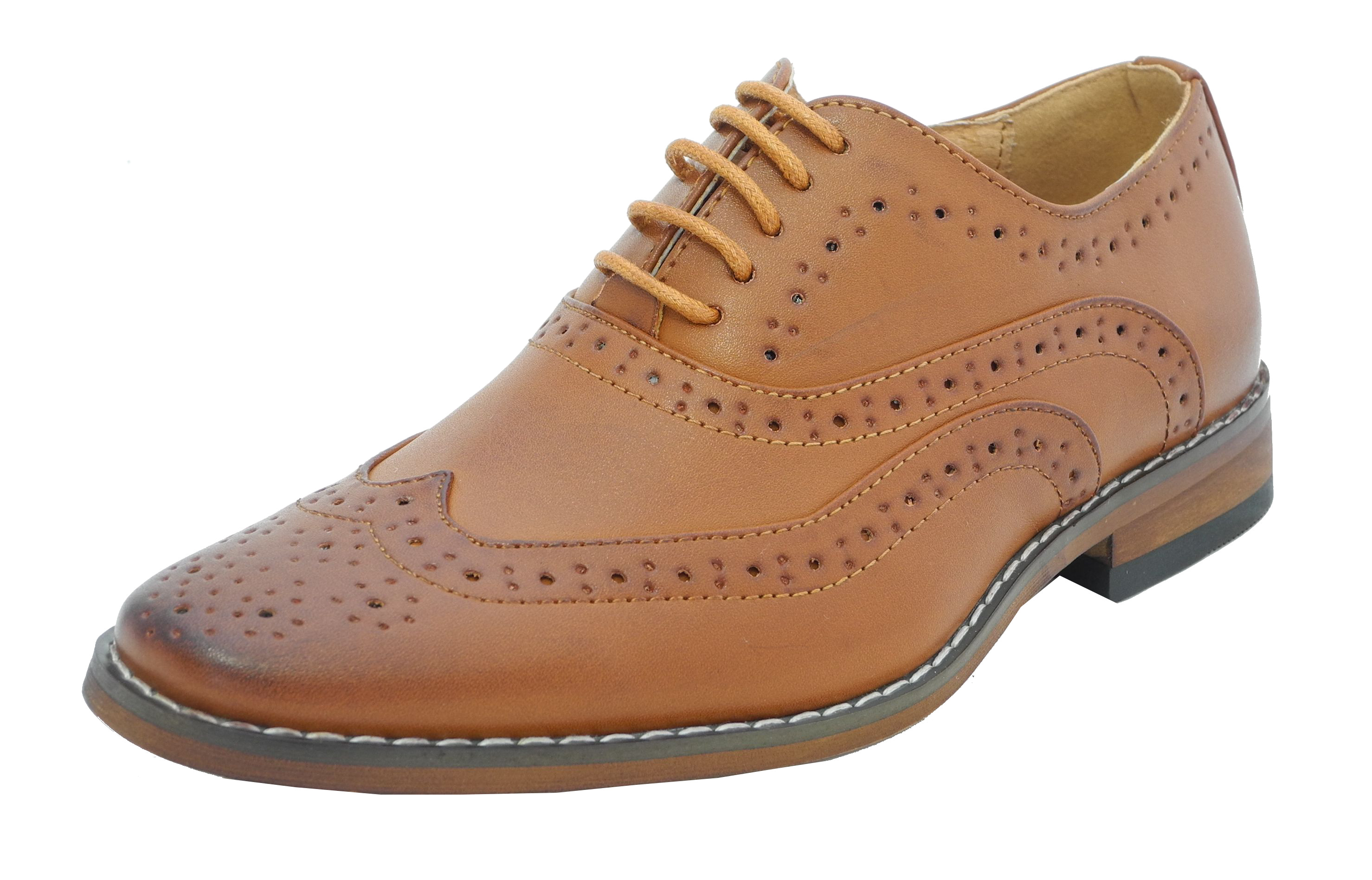 Boys Tan Leather Lined Lace Up Smart Brogues Shoes 10 11 12 13 1 2 ...