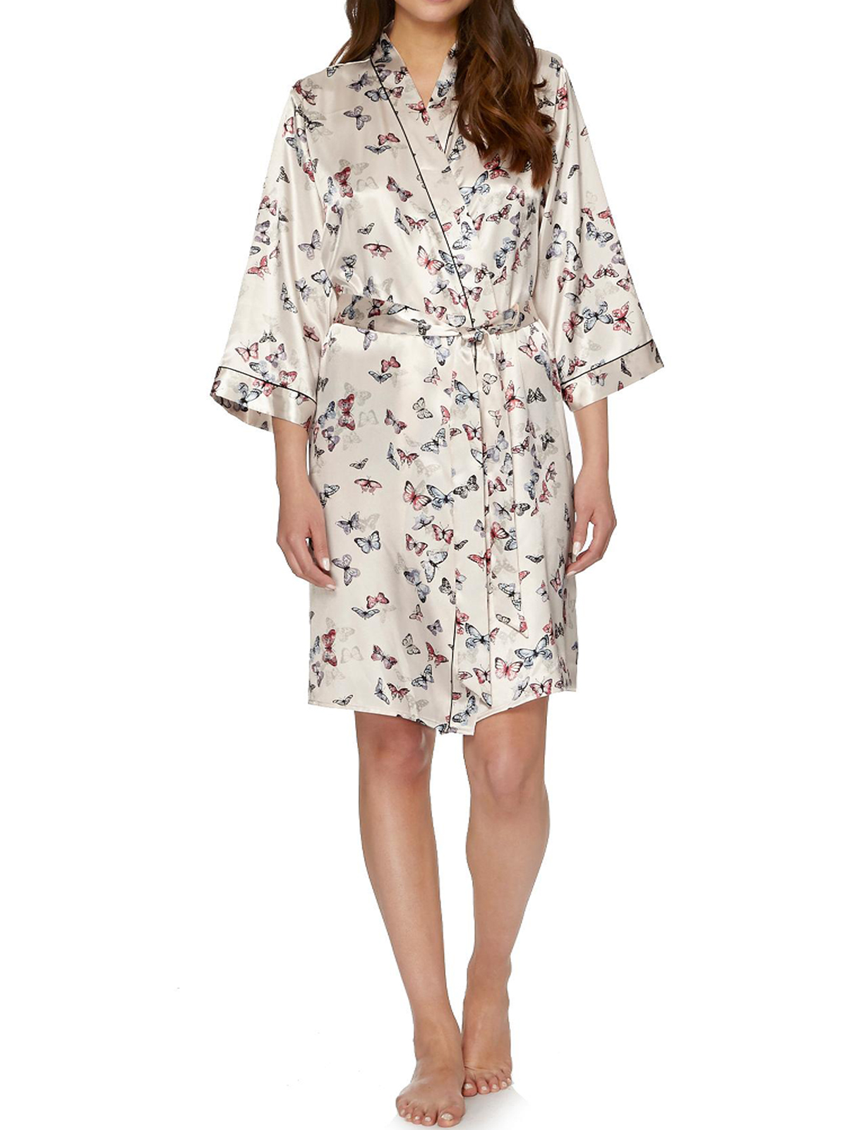 Ladies Womens Debenhams Butterfly Satin Kimono Bath Robe ...